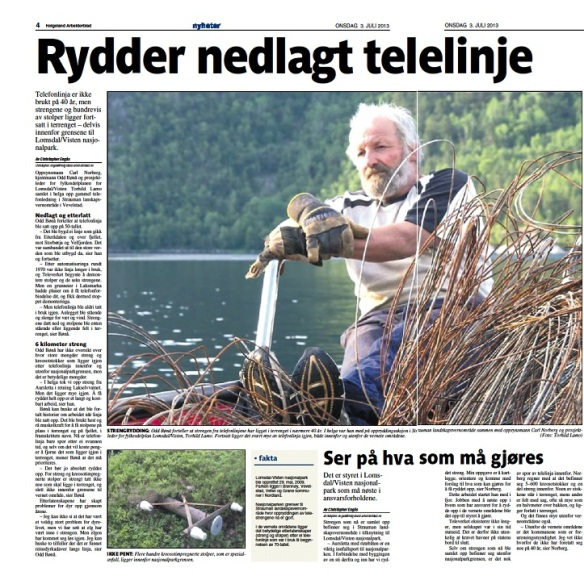 Odd Bønå på toppen av 400 kg telefonstreng (faksimile Helgeland Arbeiderbland 03.07.13)