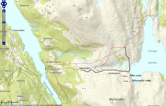 Kartet viser rute og alternativ rute (foto: Kjell Iver Johansen)